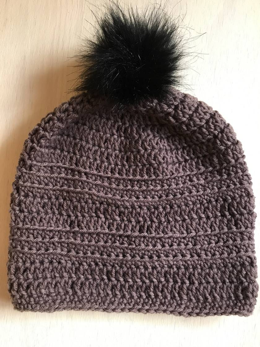 Fabulous Brown and Black pom pom beanie