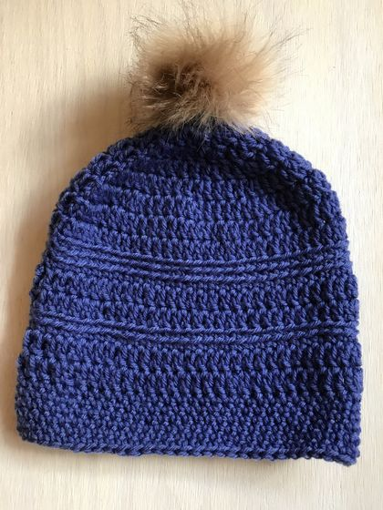 Fabulous Blue and Tan pom pom beanie
