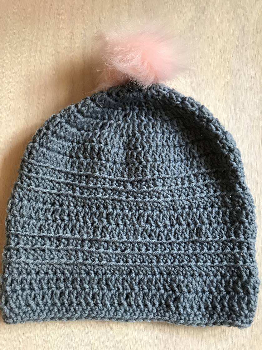 FabulousGrey and Pink pom pom beanie