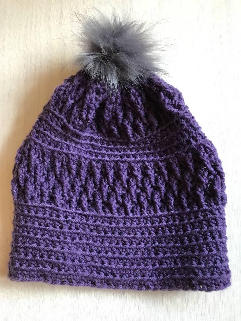 Fabulous Purple and Grey pom pom beanie
