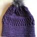 Fabulous Purple and Grey pom pom beanie