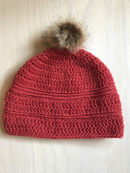 Fabulous Brick Red and Tan pom pom beanie