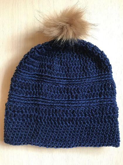 Fabulous Navy Blue and Tan pom pom beanie