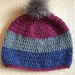 Fabulous Pink, Grey and Blue beanie with Grey pom pom