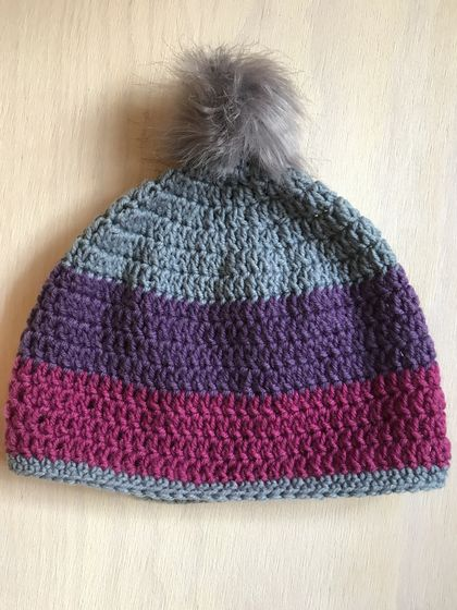 Fabulous Pink, Grey and Purple beanie with Grey pom pom