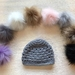 Grey Pure Wool Baby Hat (newborn size) - choose your own accessory!
