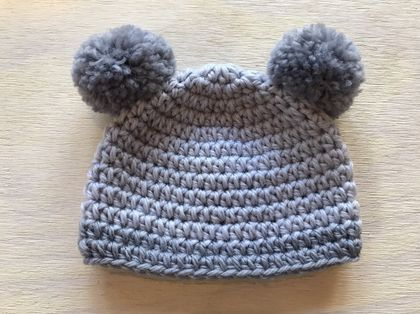 Pure Wool Baby Hat -  Grey with Pom Pom Ears