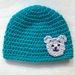 Pure Wool Baby Hat -  Turquoise with Bear