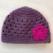 Gorgeous Mauve and Pink Pure Wool Baby Hat