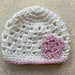 White and Light Pink Pure Wool Baby Hat