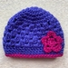 Indigo and Cerise Pink Pure Wool Baby Hat