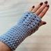 Fabulous Blue/Grey Pure Wool Wristwarmers/Fingerless Gloves