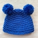 Pure Wool Baby Hat - Mid Blue with Pom Pom Ears