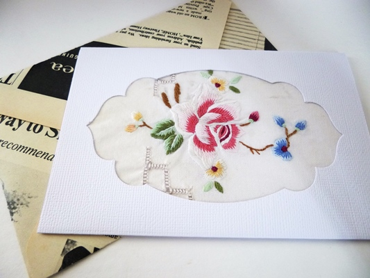 Vintage embroidery card and upcycled envelope felt