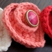 Hand Crocheted Set of 3 Heart Brooches