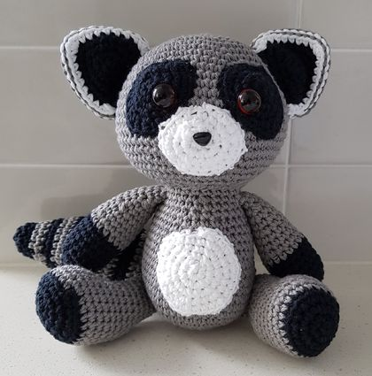 Hand Crocheted Rocco the Raccoon