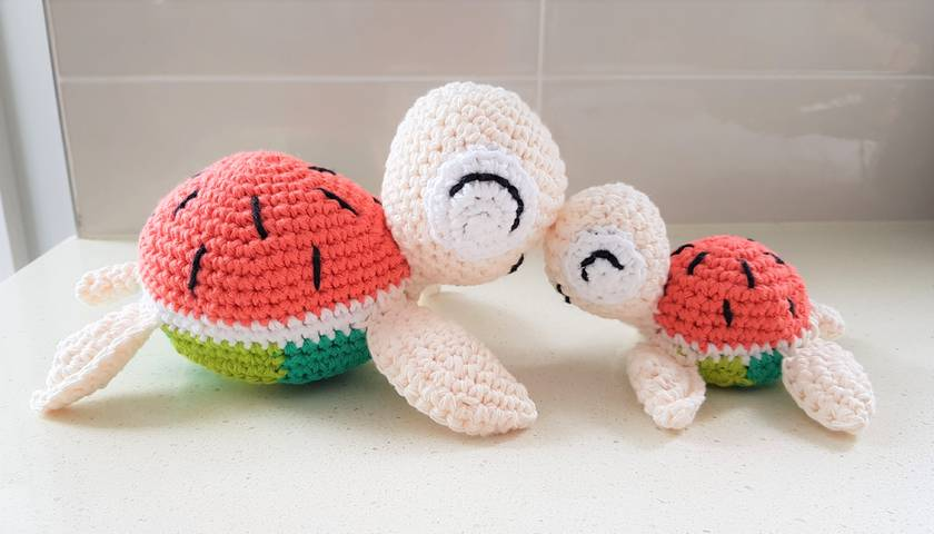 Hand Crocheted Mum and Baby Watermelon Turtles