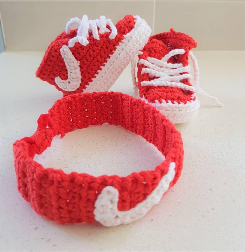 Hand Crocheted Nike Inspired Baby Booties + Headband Set  06b546289fc