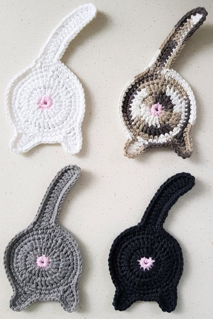 Hand Crocheted Set of 4 Cat Coasters