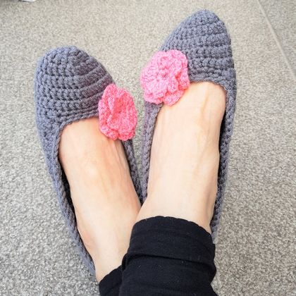 Hand Crocheted Adult Ballerina Slippers