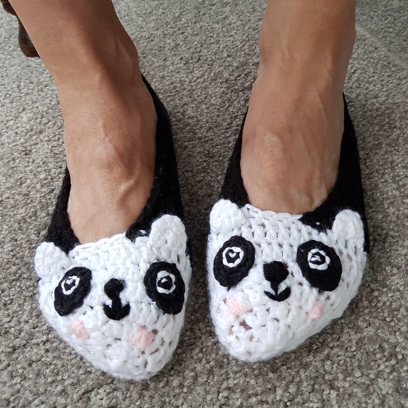 Hand Crocheted Panda Slippers