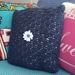 Hand Crocheted Square Cushion with Floral Embellishment
