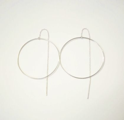 Sterling Silver Hoop Thread Earrings