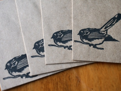 Hand-Printed Card Pack: Fantail 4pack