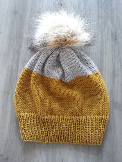 Colourblock Knitted Hat - Mustard and Grey