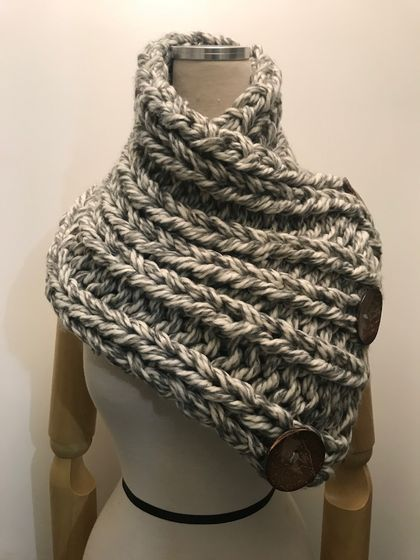 Chunky Neck Warmer - Grey tweed