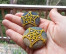 Button Brooch with Tatting Lace and Beads ~Star~