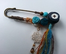 Collaged Kilt Pin Brooch ~orange & turquoise~