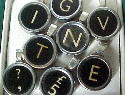 Real Old Typewriter Pendants! Original Letters on silver coloured chain. Stand out in a Crowd!