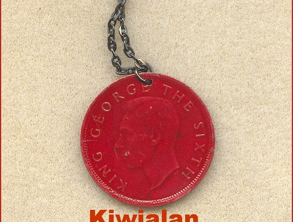 Tui in the Kowhai Tree pendant The old one Penny coin enamelled -