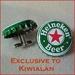 Cuff Links from Beer Bottle Tops Featuring Heineken Beer