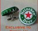 Cuff Links from Beer Bottle Tops Featuring Heineken Beer