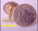 Pair N.Z. Cufflinks Old Money 2cent coins Kowhai flowers