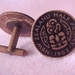 Fabulous Coin Cuff Links Tiki on the old Halfpennies as cufflinks Black enamel!