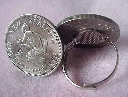 Cuff Links New Zealand 1/- coin Maori Warrior into cufflinks