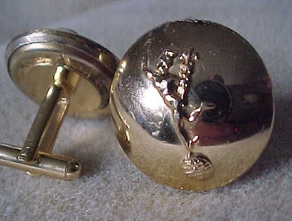 Cuff Links from New Zealand Forces Army Signals Buttons Showing Mercury