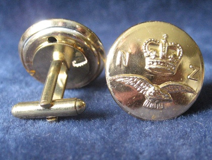 Cuff Links from New Zealand Air Force gold coloured buttons