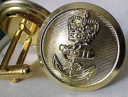 Cuff Links Royal Navy Anchor buttons gold coloured