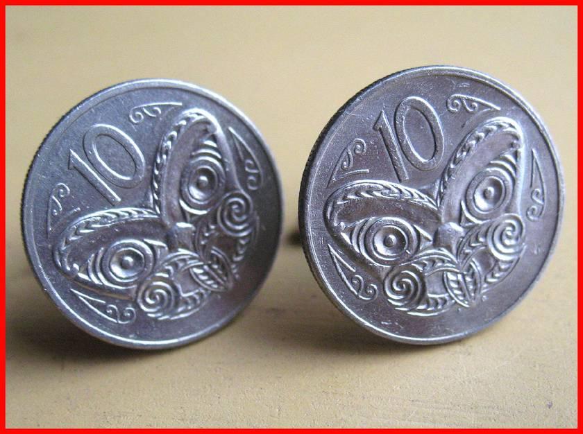 Maori Tiki Cufflinks Old shape 10c coin Be Different!