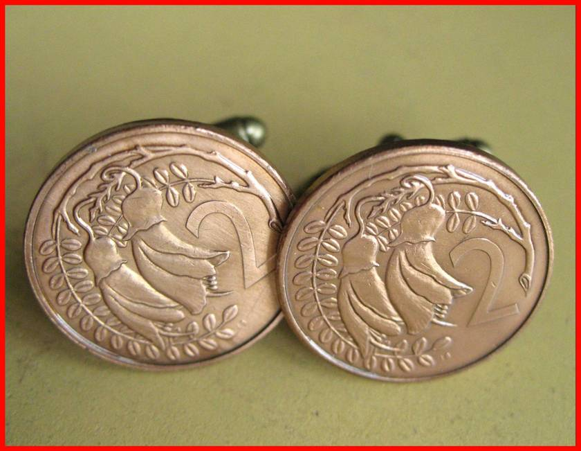 Kowhai Flower Cufflinks Old Two Cent coin Be Different!