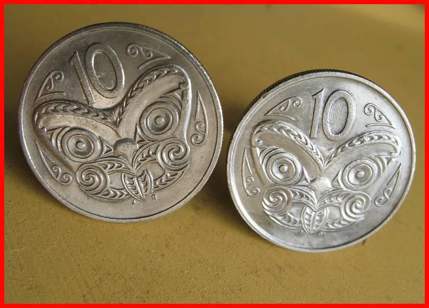 Maori Warrior Cufflinks Old shape 10c coin Be Different!