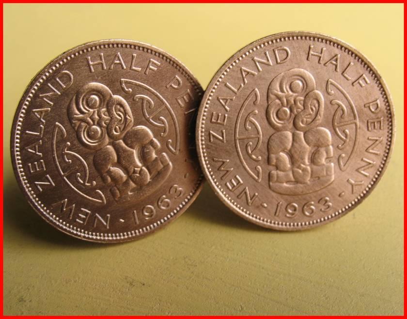 Maori Tiki Cufflinks Old shape half-penny  coin Be Different!