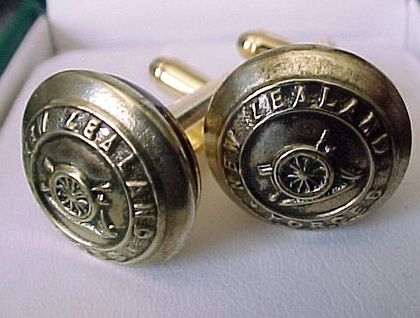 Cufflinks - Brass N Z  Army Artillery buttons - laquered on Gold coloured  base - be different!
