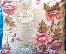 Vintage Barkcloth Pink Floral Cushion Throw Pillow OOAK