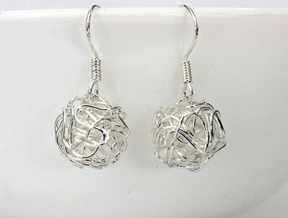Wire balls on Sterling Silver hooks.