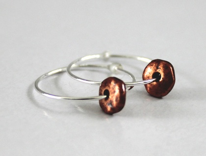 Beaten Copper Discs on Sterling Silver Hoops